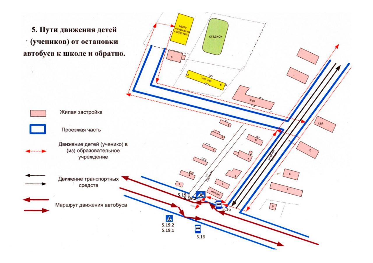 Пути движения детей (учеников) от остановки автобуса к школе и обратно